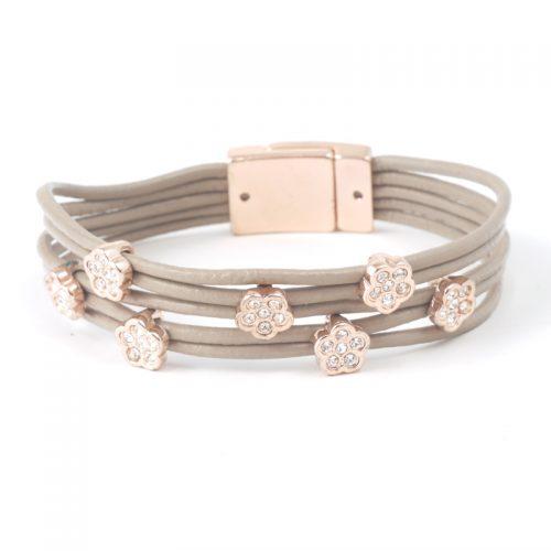 Bracelet-0352-leather-crystal-flower-taupe-rose