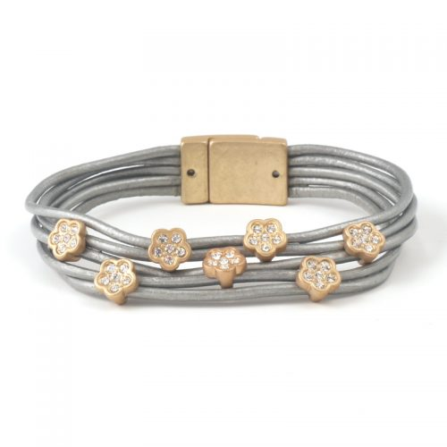 Bracelet-351-Leather-and-crystal-flower-silver-gold