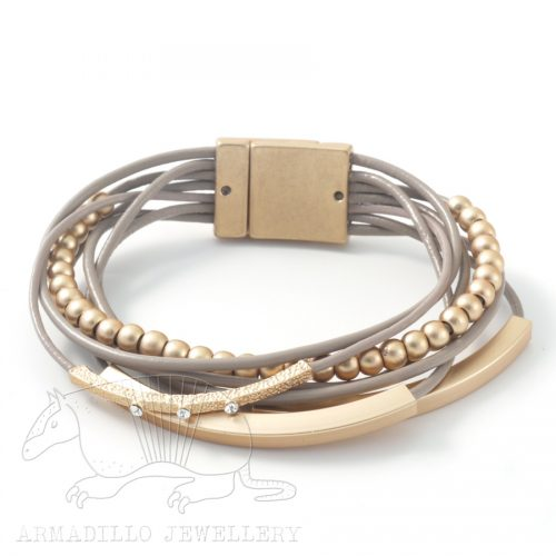 Bracelet-Multi-Strand-leather-Taupe