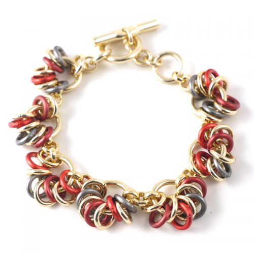 Chain-15-bracelet-Red-Anth-gold